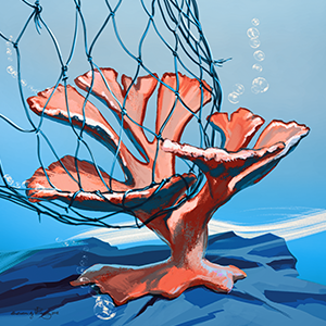illustration of piece of coral getting wrapped by a net
