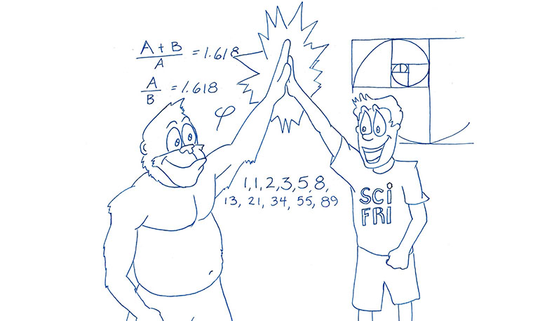 A gorilla and human in a Science Friday t-shirt giving each other high-fives in front of information about the Fibonacci Sequence