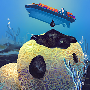 illustration of piece of coral getting oil dripped on it from boat above