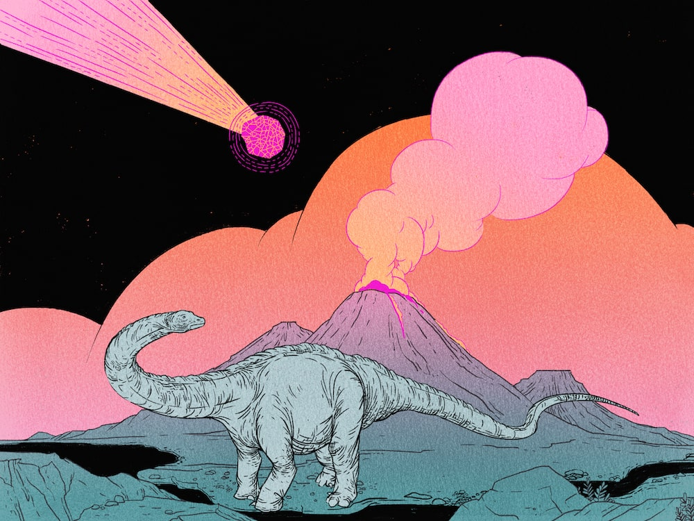 illustration for the undiscovered podcast of a long-necked dinosaur looking at erupting volcano as a meteor flies overhead