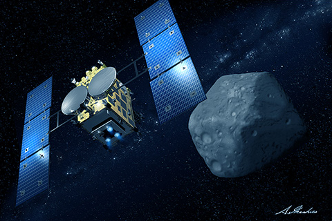 a computer rendering of a satellite next to an asteroid