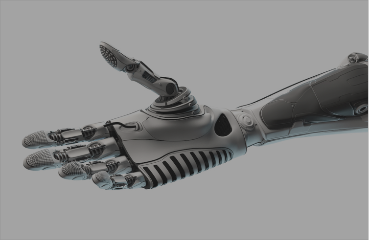 single robot arm with hand extended on with gray overlay