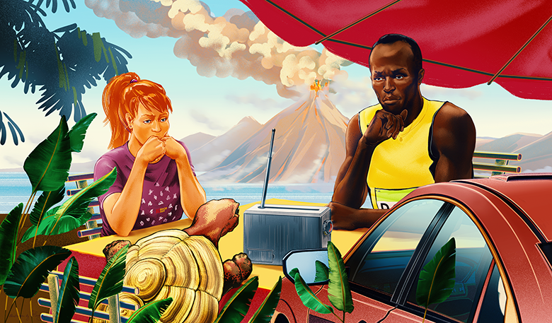A tortoise, girl, Usain Bolt, and car sitting around a table as a volcano erupts in the background
