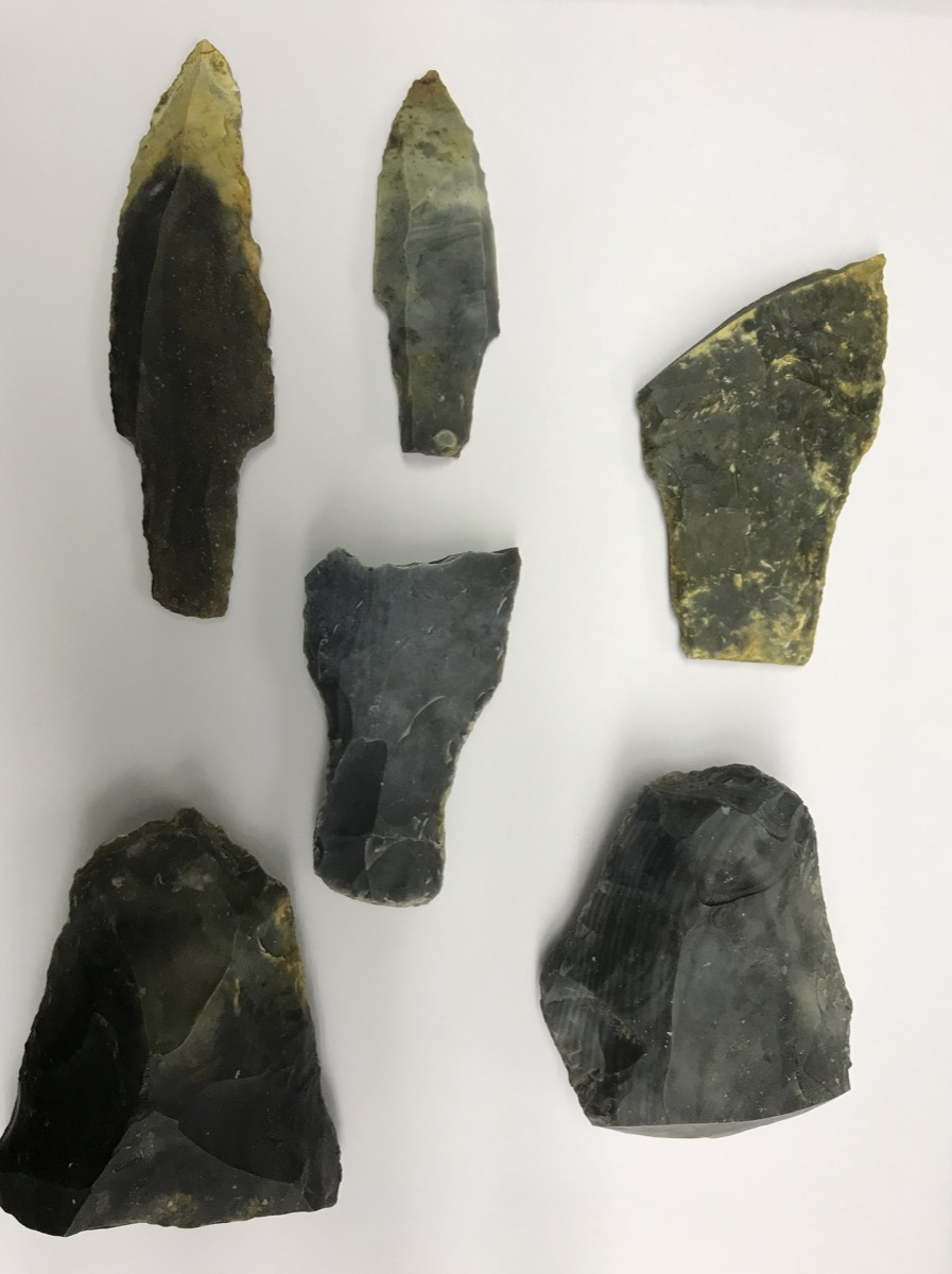 6 stone tools carved into sharp points and laying next to each other on a table