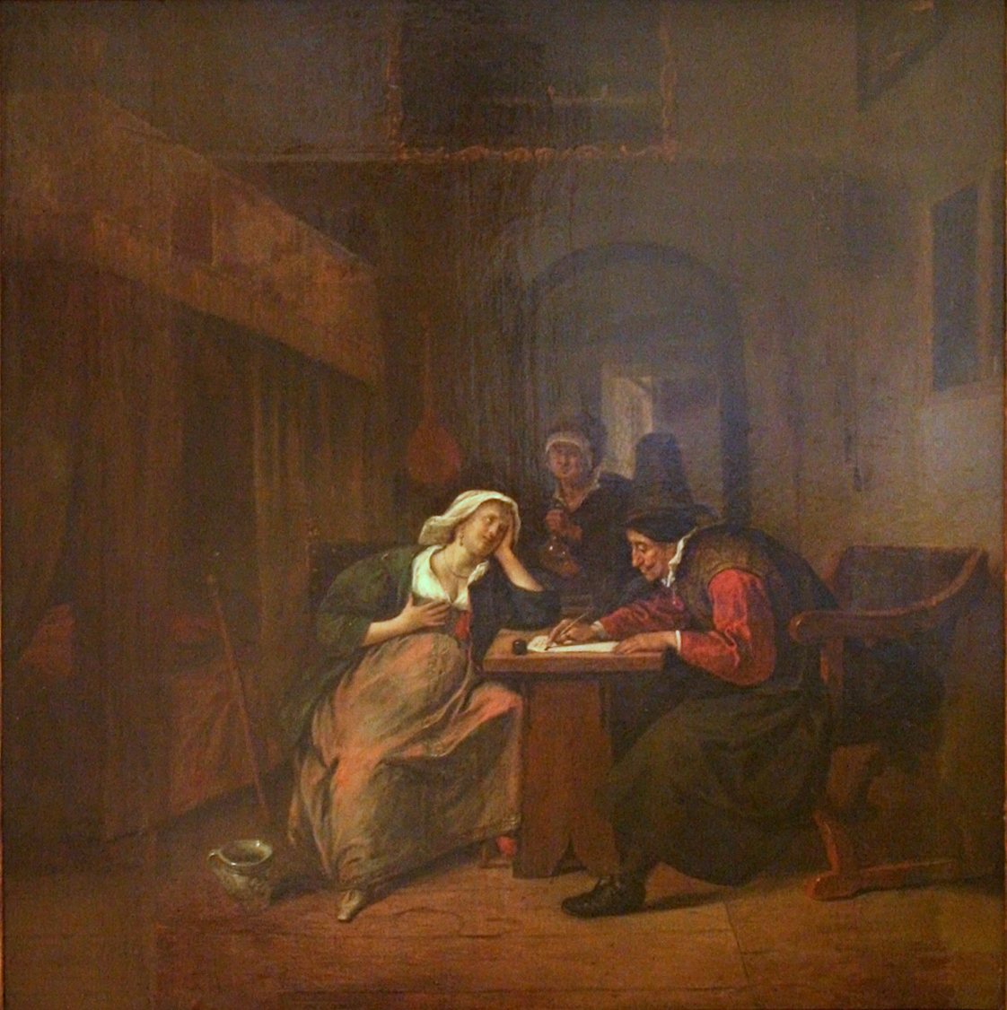 A painting of a 17th century pregnant woman and her doctor