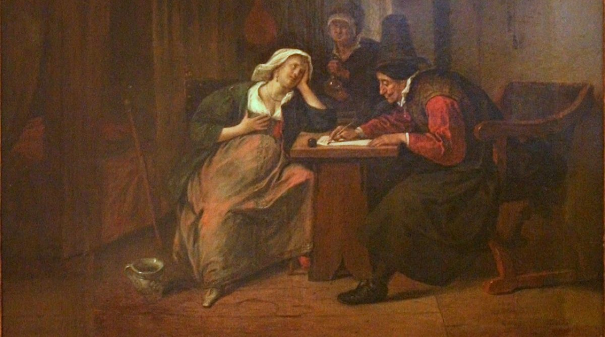 A cropped photo of a painting showing a 17th century pregnant woman and her doctor