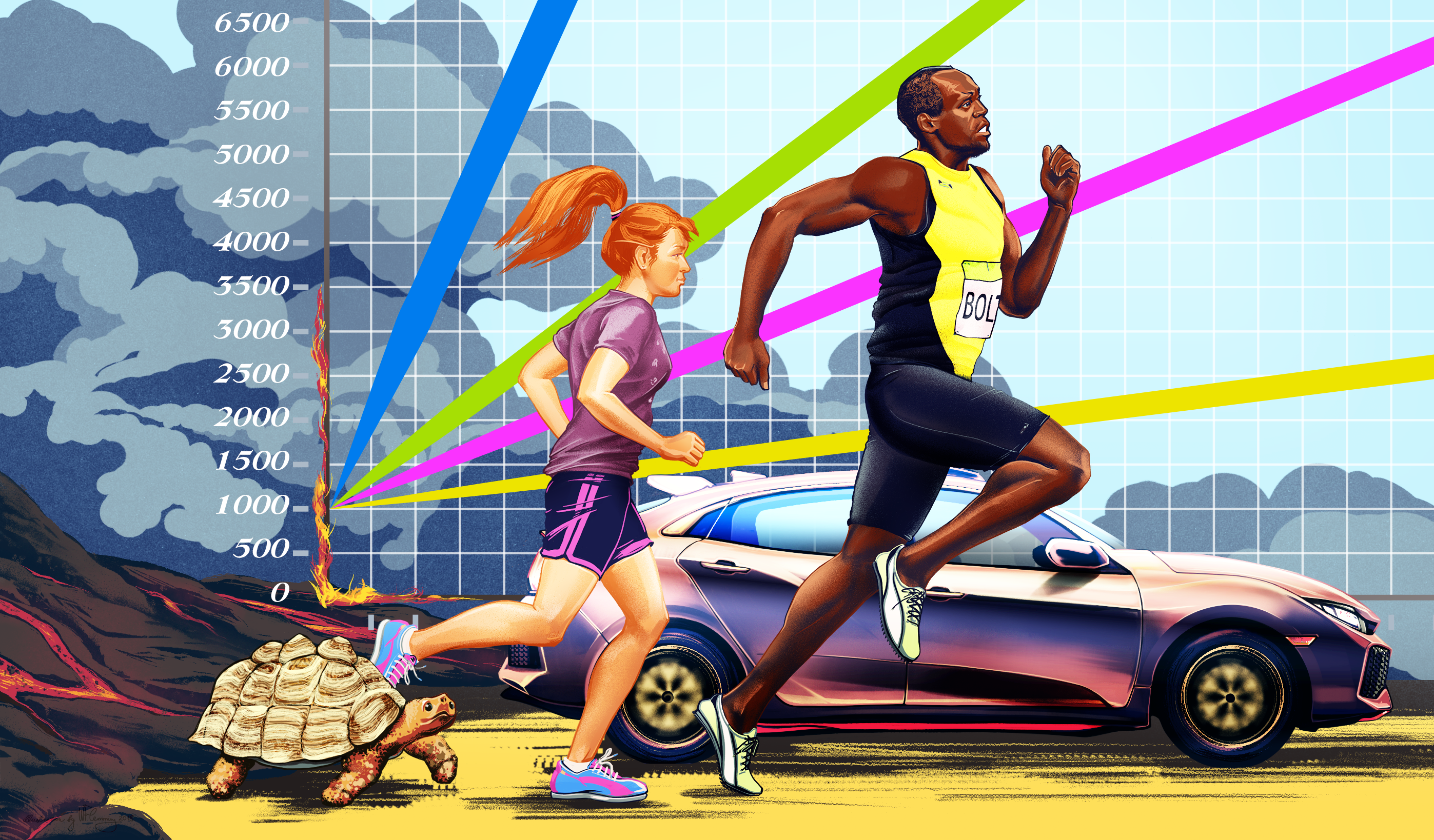 A tortoise, girl, Usain Bolt, and a car drive away from lava in front of a background of a graph.