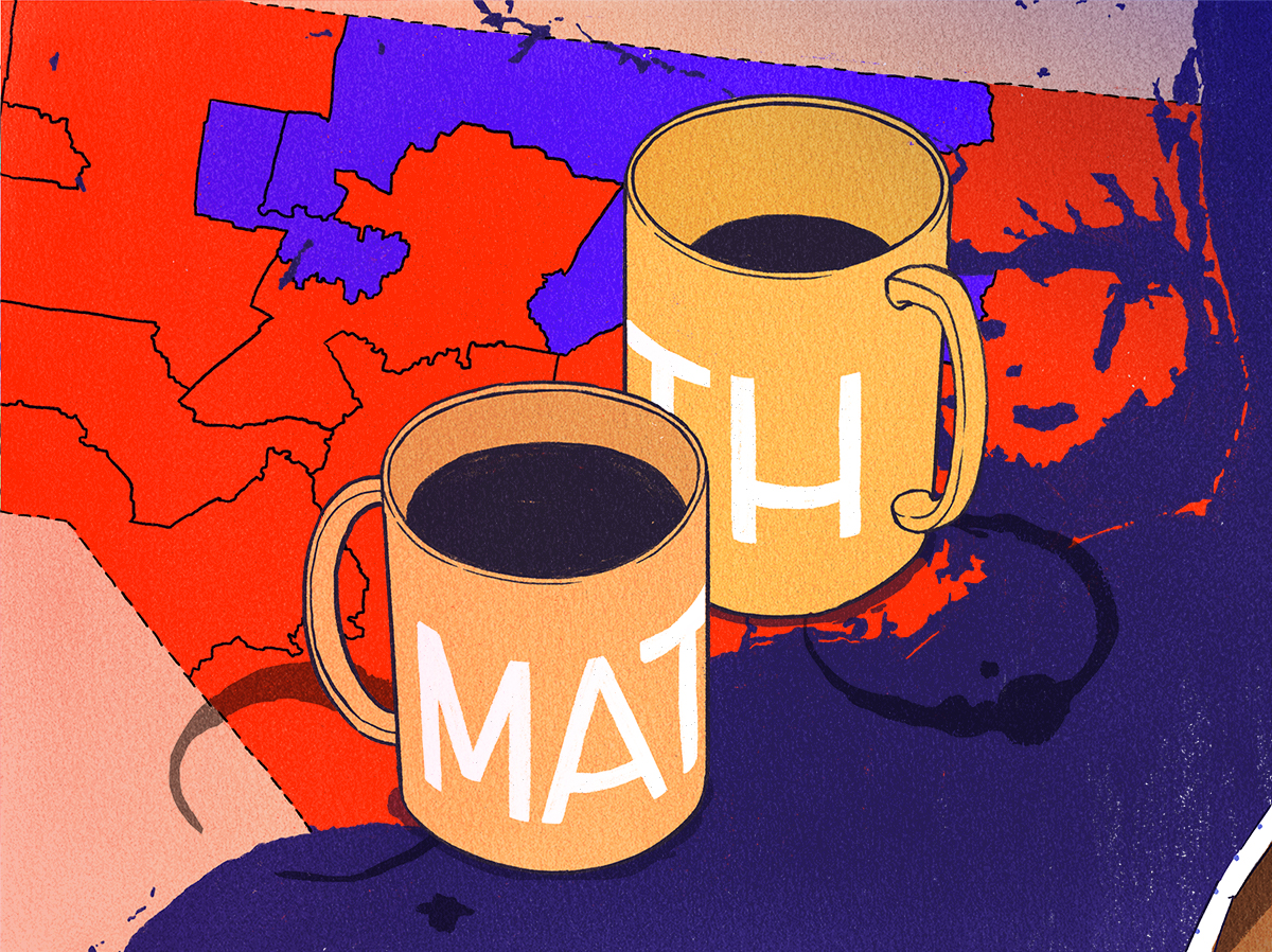 a drawing of two coffee mugs that say math, on top of a map of North Carolina's congressional districts