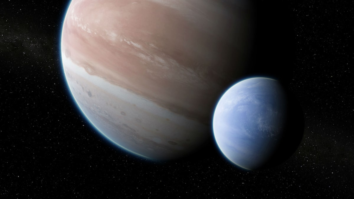 a large jupiter-like planet, with a smaller blue moon in the foreground