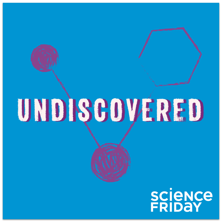 "album artwork that says ""undiscovered, science friday"" on it. it has three hand drawn dots in a v-shape, two are filled in and the other is empty"