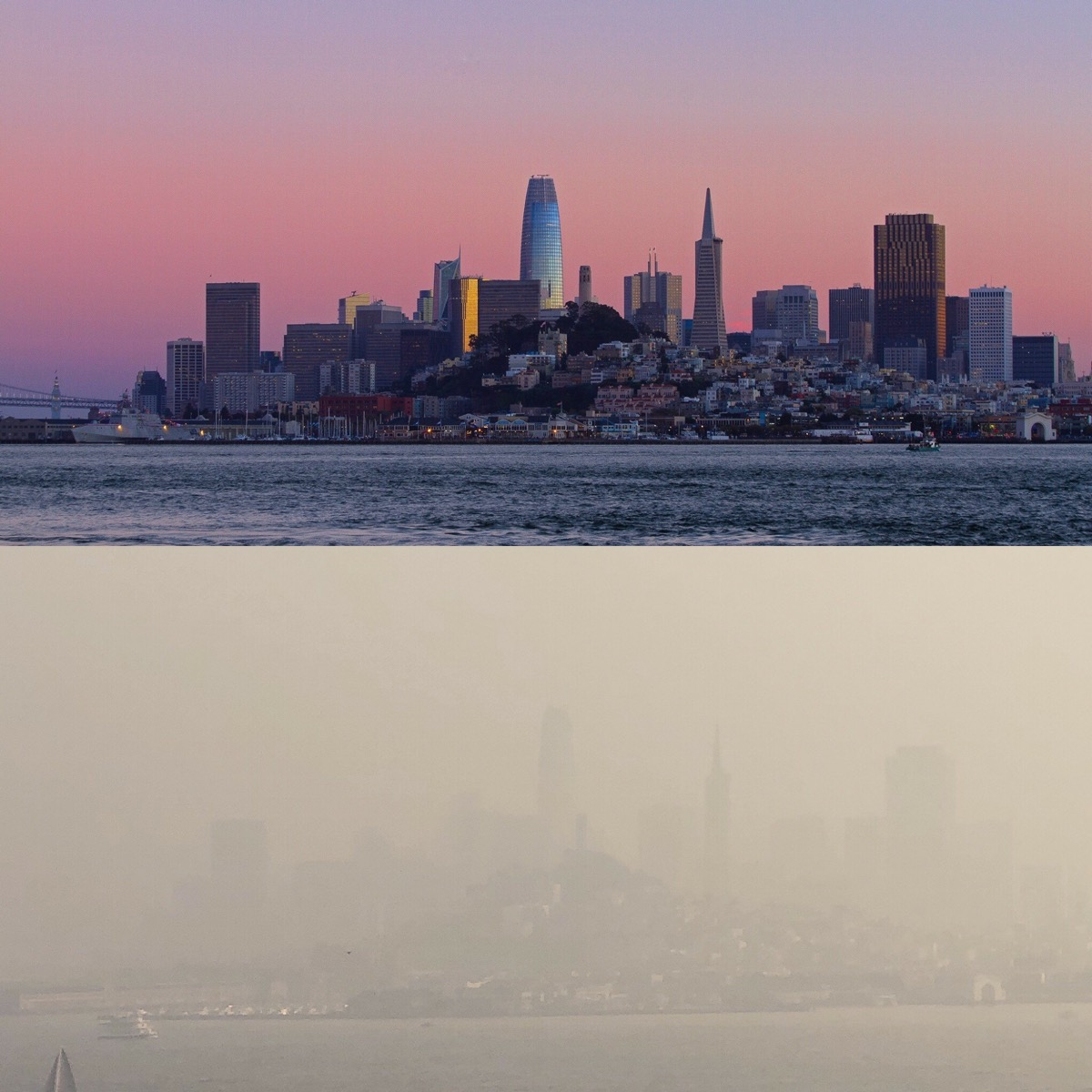 two images, on top, a clear day of downtown san francisco, on bottom, the skyscrapers are barely visible due to smoke