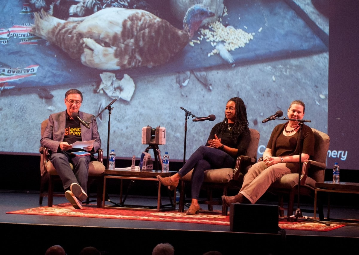 a man interviews two archaeologists, a black woman and a Caucasian woman, on stage. there is a slide of a turkey in the background