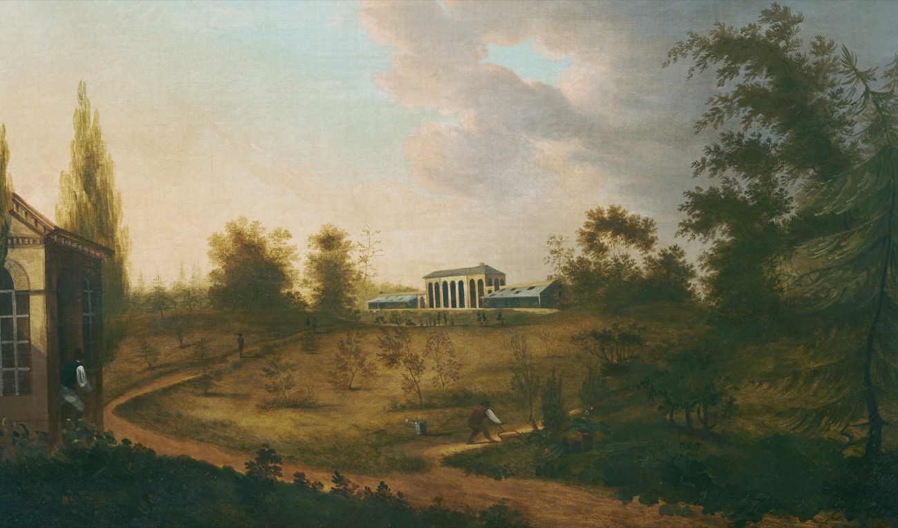 oil painting of the elgin botanic garden at sunset, with a white strucuture off in the distance surrounded by agricultural landscape