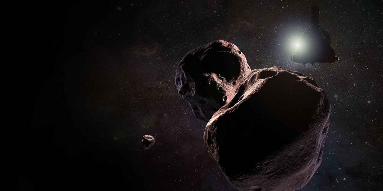 the new horizons spacecraft sillouheted against the sun approaching three large asteroids