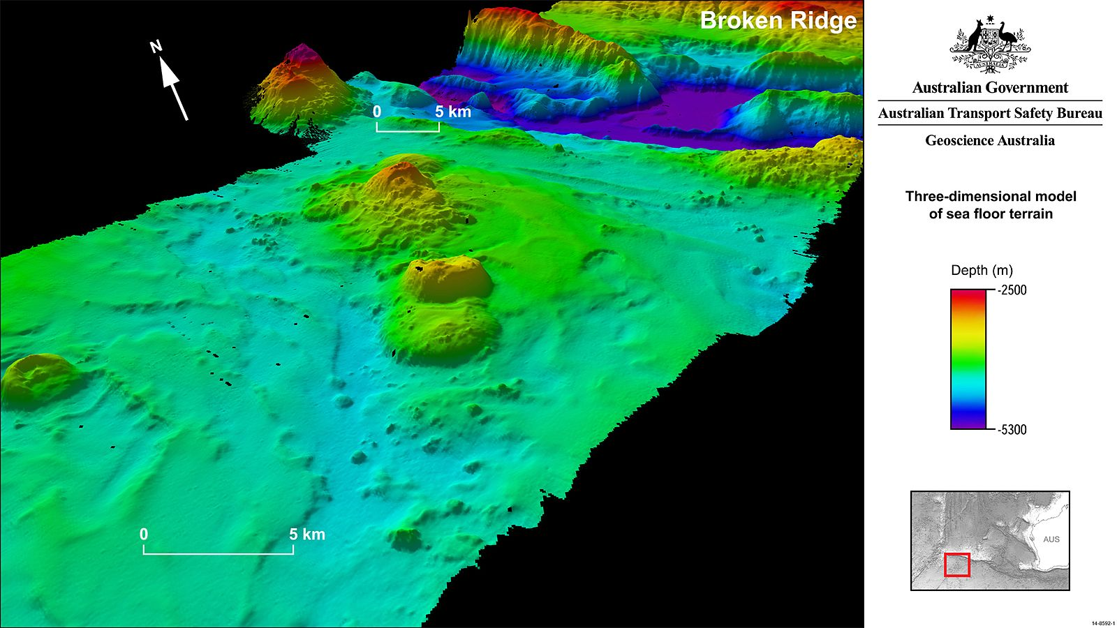 A color coded 3D model of the ocean floor