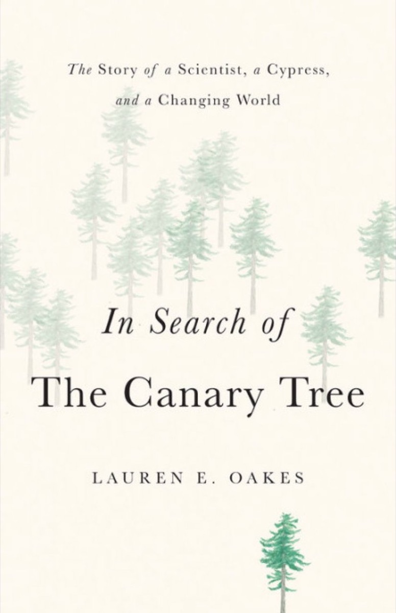 book cover with fades images of scattered trees