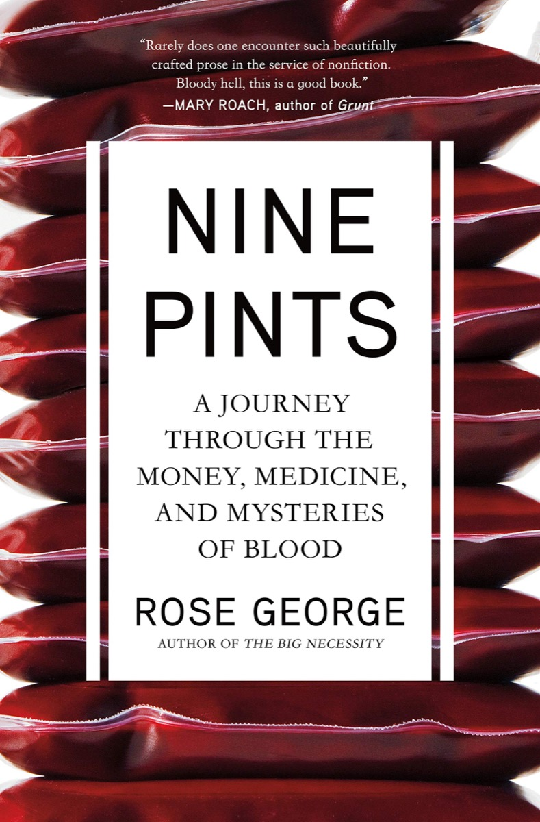 book cover with stacks of blood bags