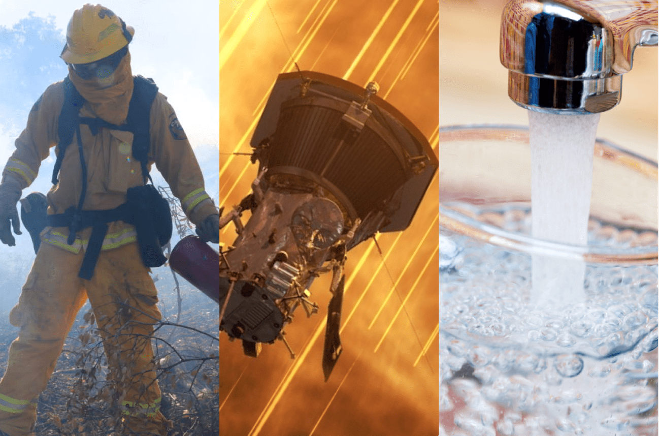 three images of a fireman, a satellite against a fiery background, and a faucet pouring water into a glass