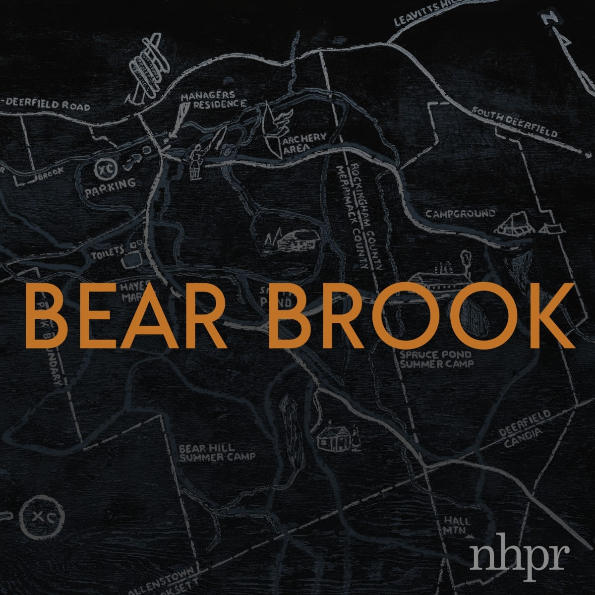 "the logo of the ""bear brook"" podcast which states the title in orange on top of an illustrated gray map on a black background"