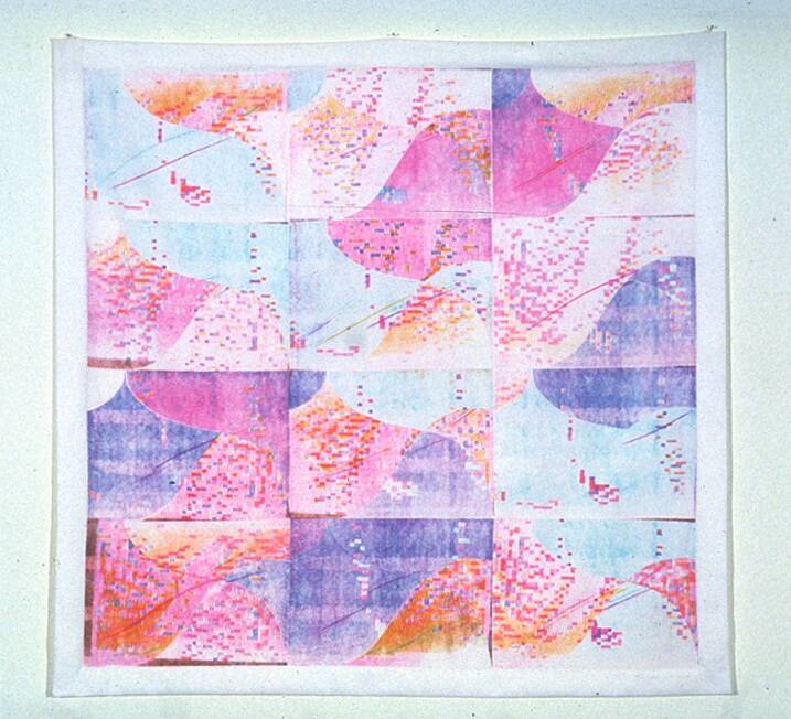 a piece comprised of 12 3x4 squares, each with abstract shapes in pastel colors, mostly pink and blue