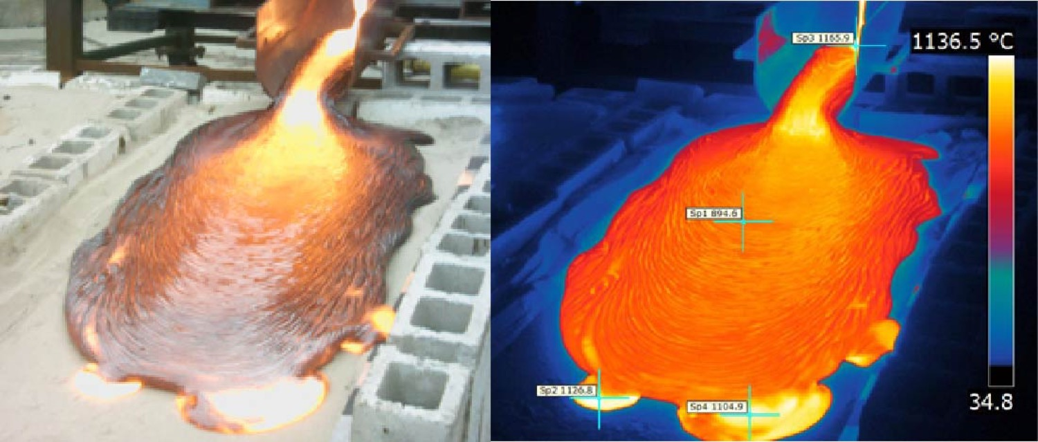 two photos side by side of the same image of a lava flow. one is taken under natural light and the other shows it in bright orange under infrared