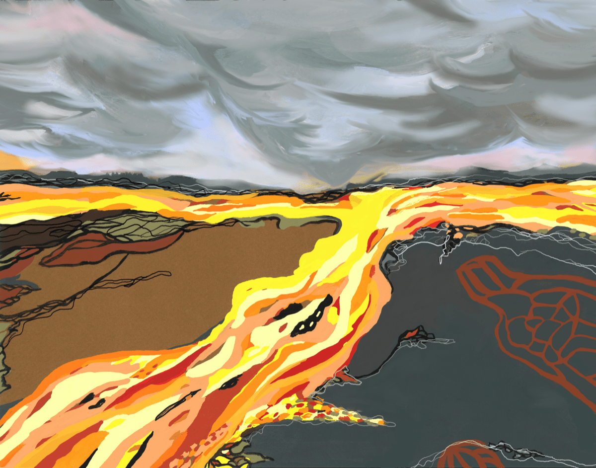 abstract artwork featuring lava flowing down a hill under a stormy gray sky