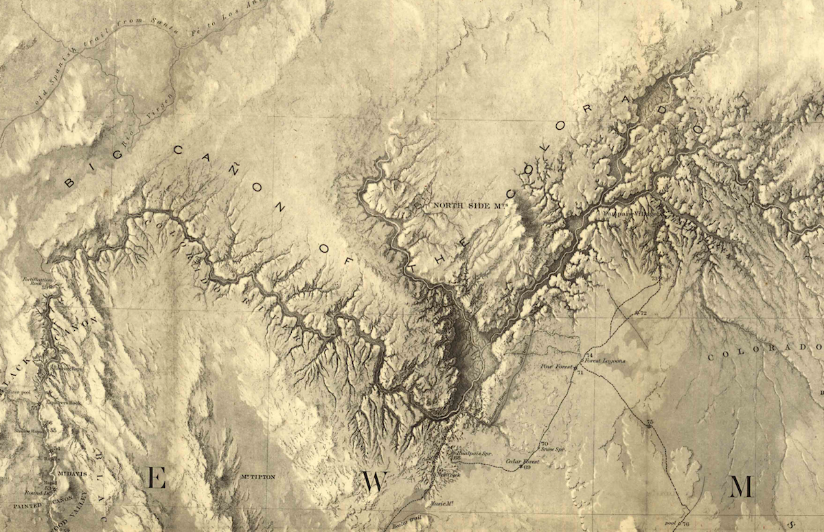 "a close up detailed look of an engraved looking map that is a tan color. there is the snaking colorado river with the words ""big canon of the colorado"" written to indicate the grand canyon"