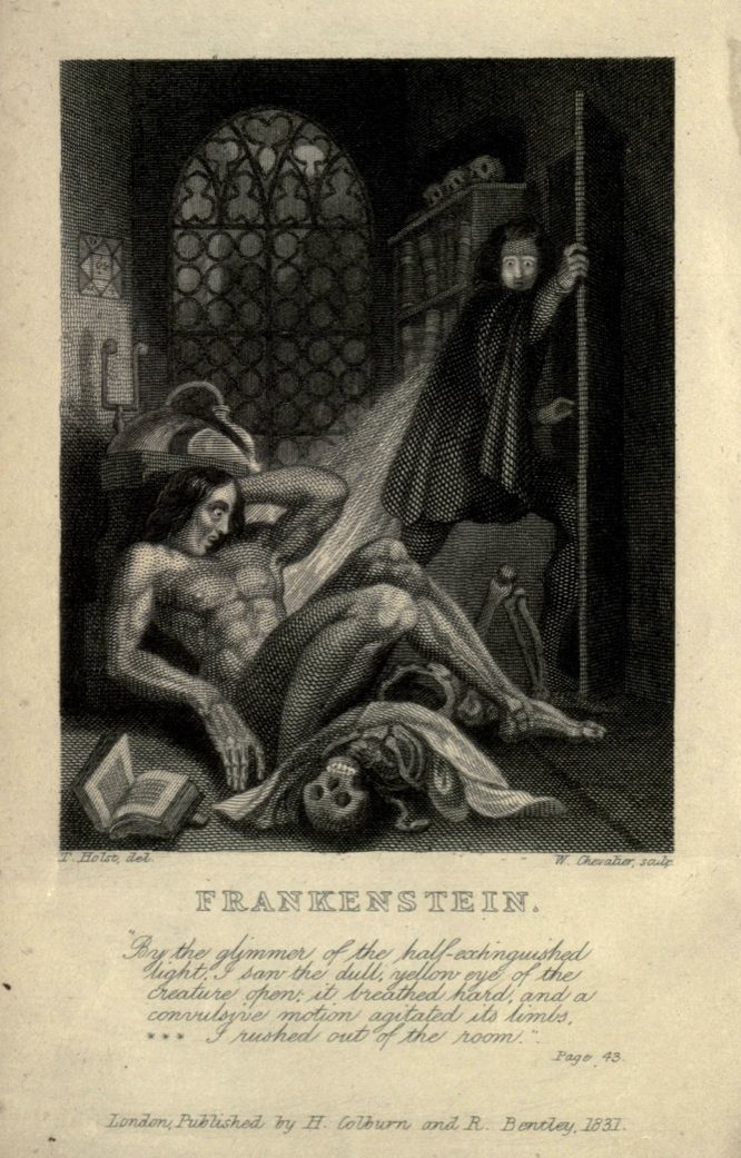 a black and white book page of a creature (frankenstein) lying back on the ground, with a scared man looking at the creature through the door. they are in a dungeon type room