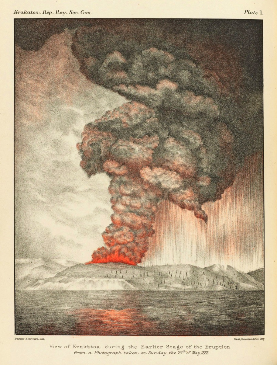 an illustration of a volcanic eruption. a huge plume of ash is sent into the air