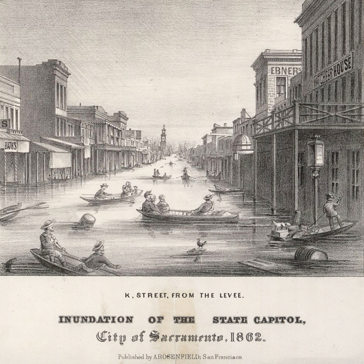 a black and white printed illustration of a flooded street. there are people rowing boats in the flooded street, as well as equipment, barrels, and items floating in the water