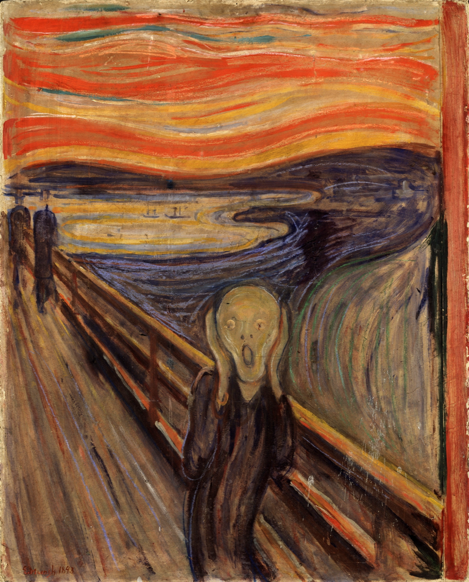an abstract person with a screaming face on the backdrop of what appears to be a bay under a vibrant red and orange sky