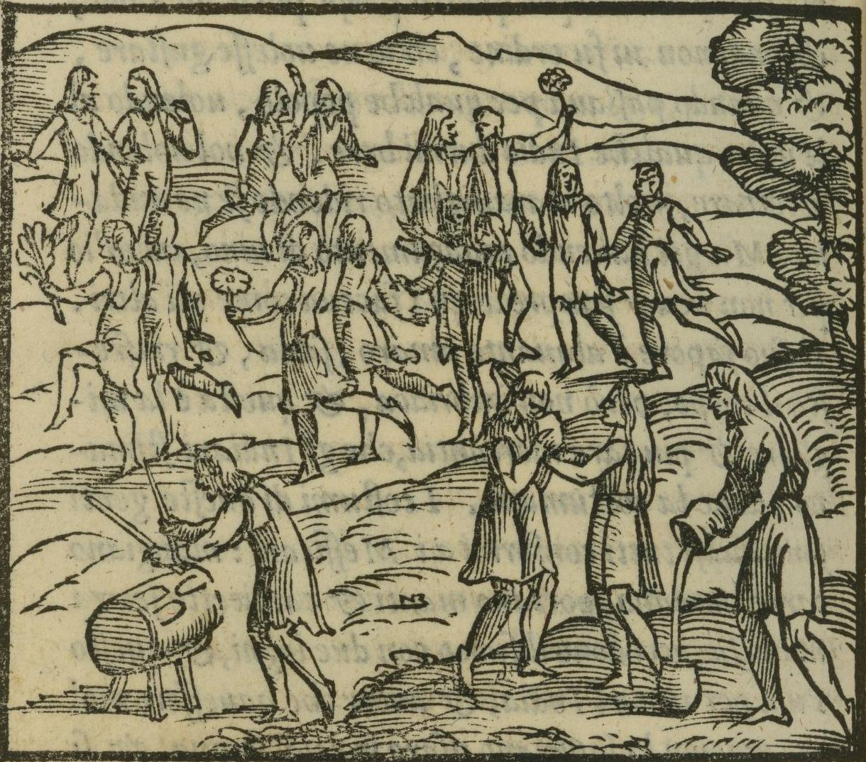 etching of large group of people dancing and drinking from vats in rolling hills