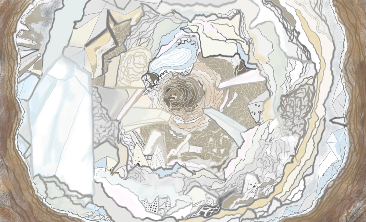 illustration of gray and white swirling tunnel full of geodes