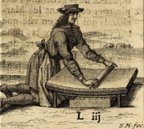 yellowed woodcut of a man in classic European clothes grinding beans on a flat platform