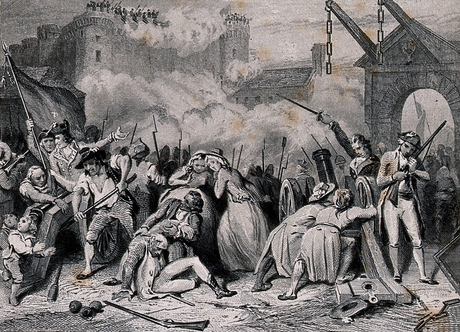 a black and white etching of a battle scene with a large fort in the background (bastille) and women and men injured in the front. they are fighting with cannons, guns, and swords