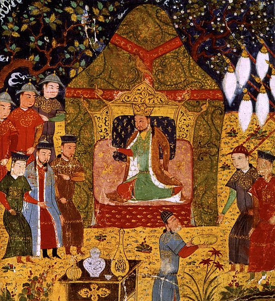 painting with lots of red and gold of khan surrounded by followers on the throne