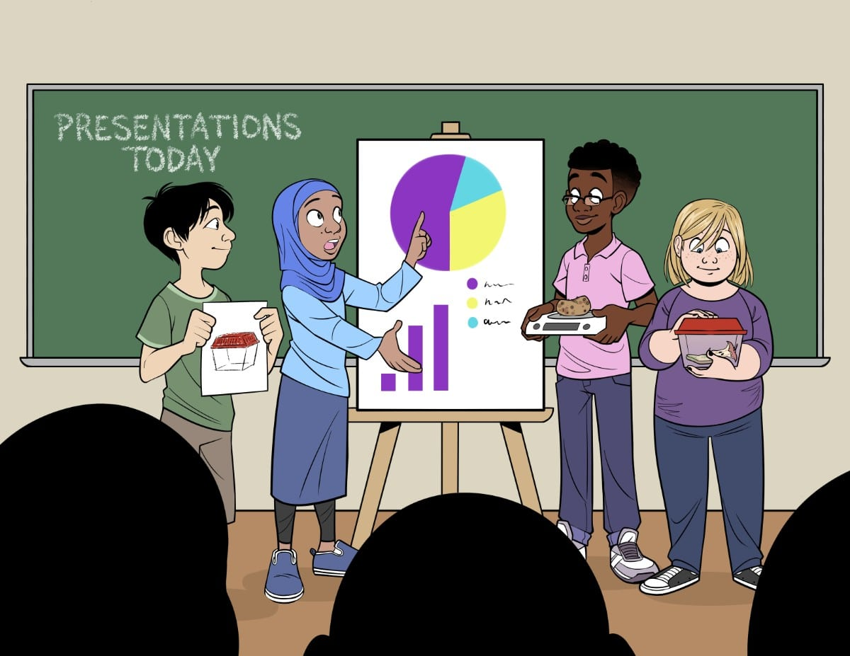 a colored cartoon illustration of four students of different race and gender in front of a blackboard with a board with graphs on it. they are presenting to a class