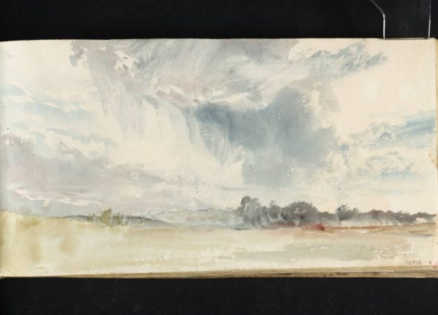 a sky watercolor painting. it is grey and cloudy, it may be an indication of rain too with the light smudges and hazy look