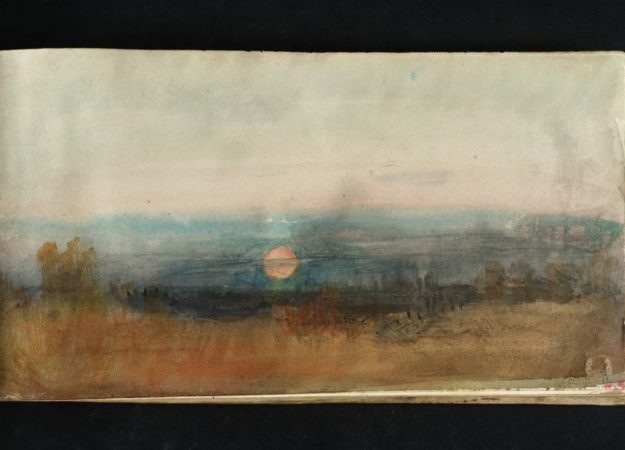 a watercolor painting of a sky, with a reddish sun sinking in the horizon -- a dark gray, blue casts over the sun, making for a gloomy sunset