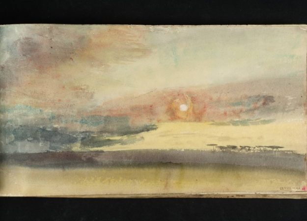 a sunset watercolor painting. the colors a light and orange, with darker tones fading in the horizon. there is a yellowish haze around the sun