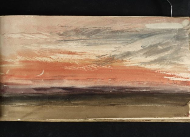 a watercolor painting of a red sky with a small crescent moon waning in the left corner