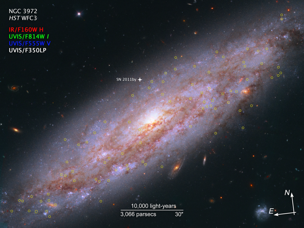 a bright oval, swirling galaxy. there are many yellow circles round stars