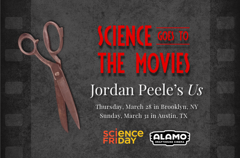 "grayish black film strip with red words saying ""science goes to the movies"" and red tinted scissors laid on top"