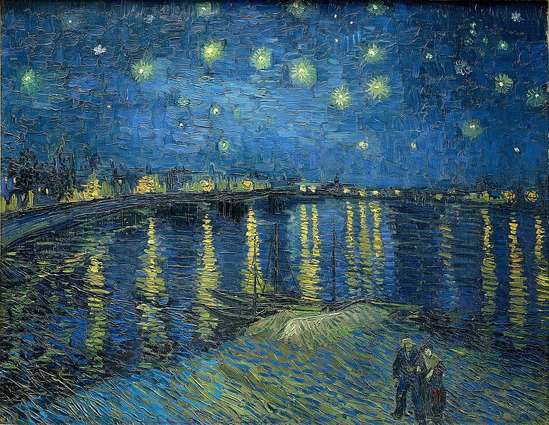 textured painting with multiple shades of blue depicting river scene under stars with two figures walking