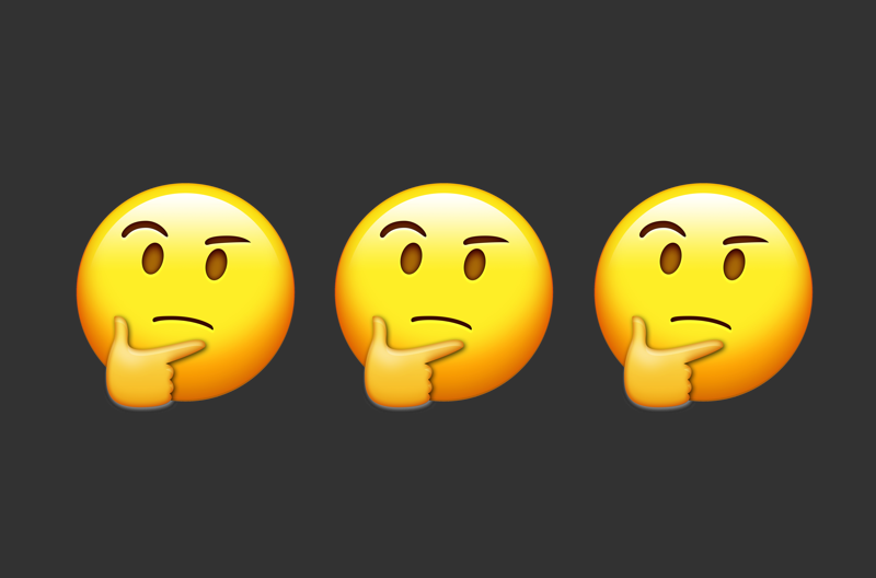 three thinking face emoji in a row against black background