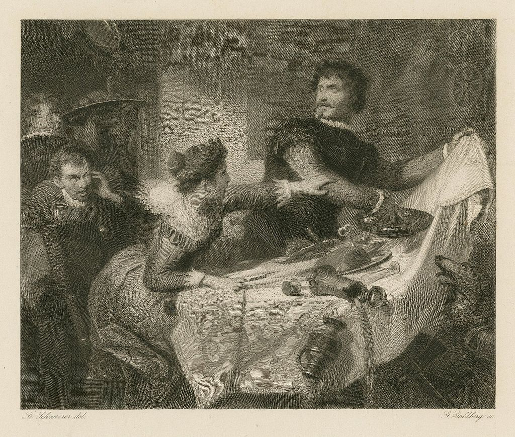 yellowed etching of man pulling tablecloth off table, spilling food, and woman trying to restrain him