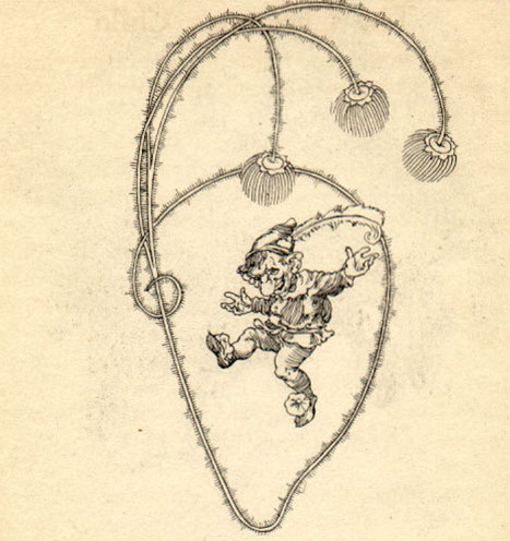 drawing of a mischievous-looking elf with hat and dancing
