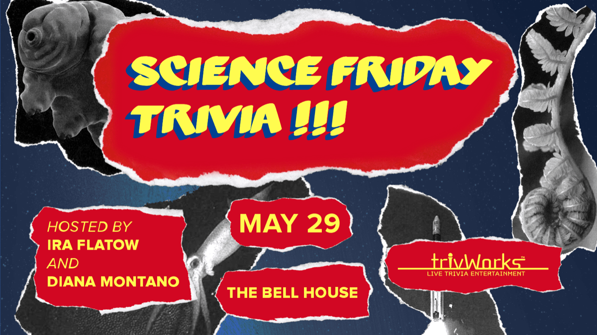 collage style poster that says 'science friday trivia, may 29' with with rockets, leaves, and tardigrades in the background