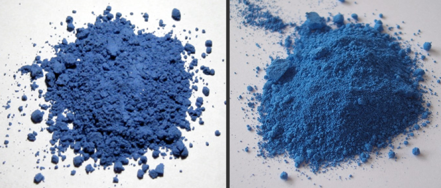 two different shades of blue side by side in powdered form. ultramarine is a slightly deeper blue