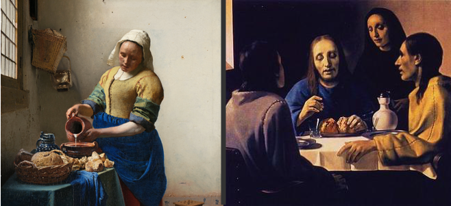 "An original Vermeer (left, ""The Milkmaid"") and a forgery by van Meegeren (right, ""The Supper at Emmaus""). Credit: Wikimedia Commons"